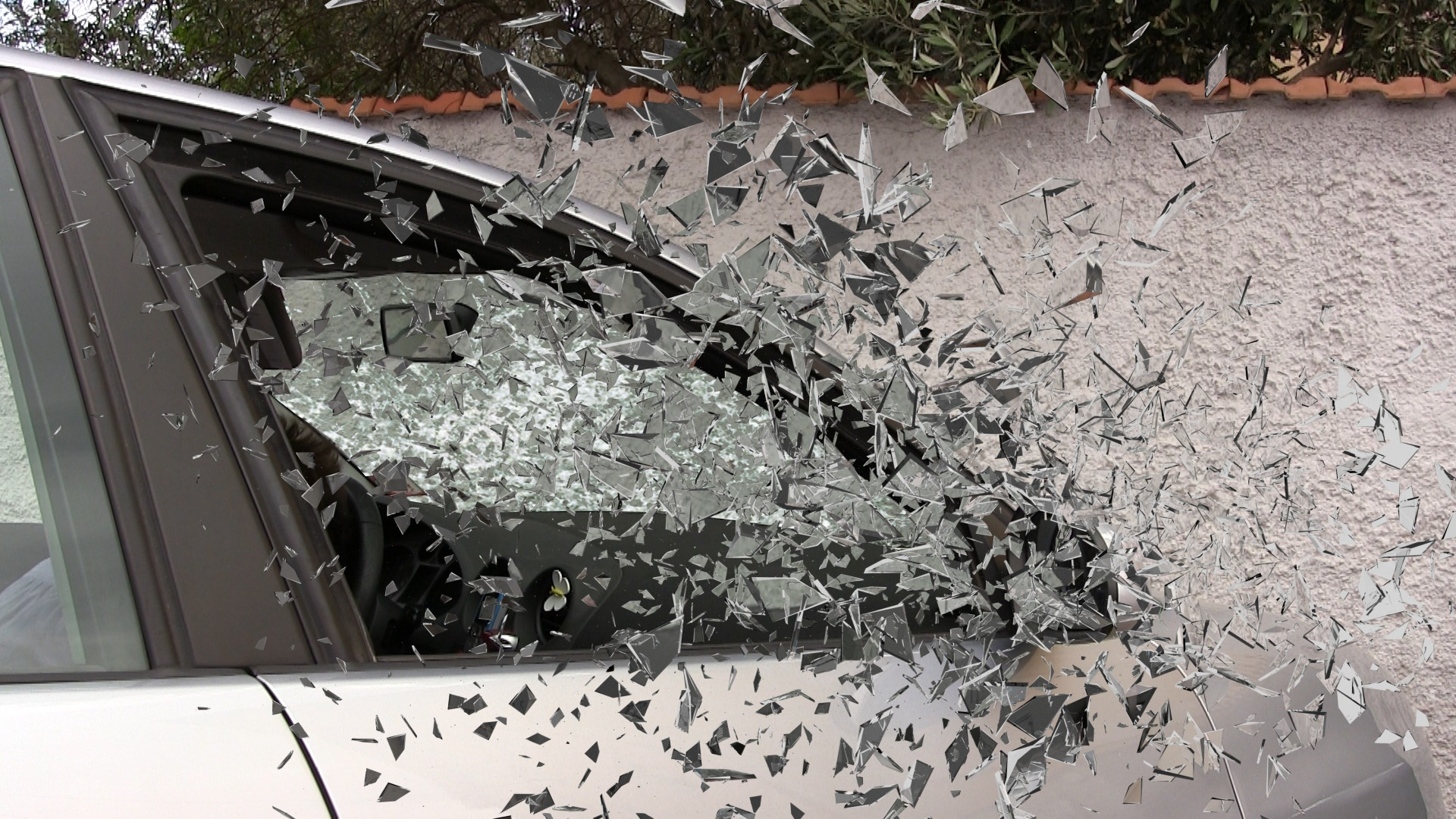 car with shattered window